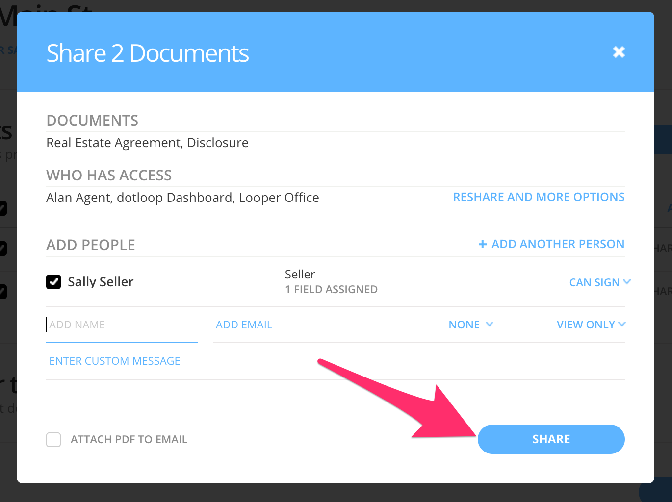 Sharing Documents – dotloop support